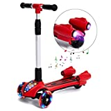 in character lil gobbler - MammyGol Kick Scooters for Kids,Adjustable Handle  Folding LED Spray Jet Scooter, 3 wheeled, 110lb Weight Limit, age 3- 8 (Red)