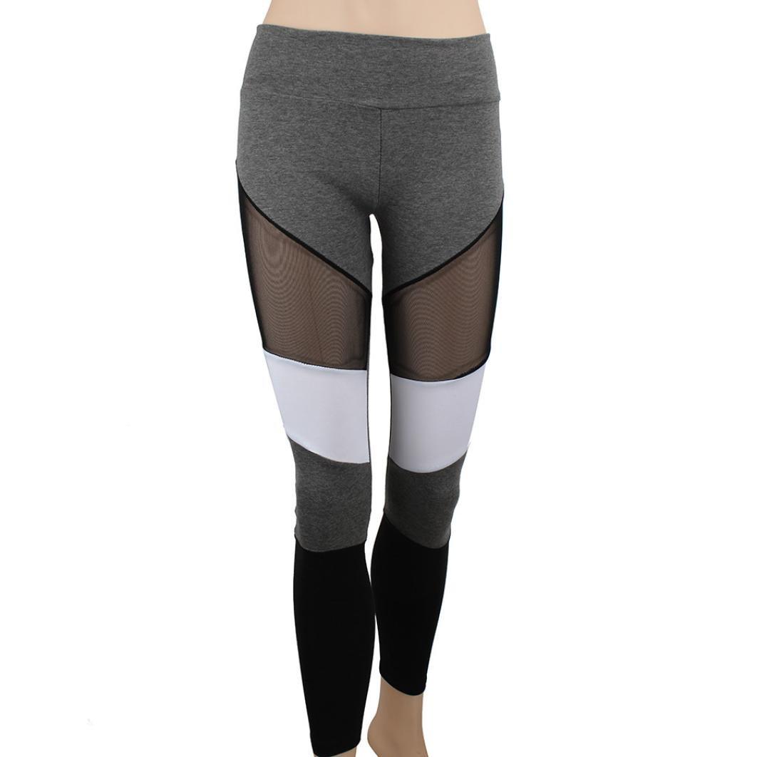 Paellaesp Mujeres yoga Running Sport pantalones cintura alta ...