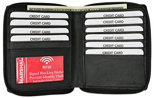 remium Soft Leather Zippered ID Wallet (Black) ()