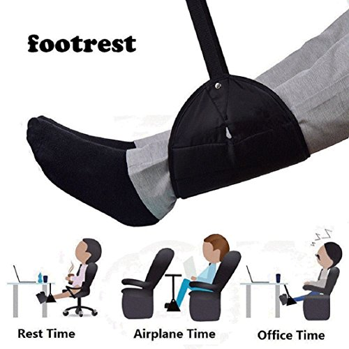 Lolicute Airplane Footrest,Foot Hammock Portable Travel Plane Flight Carry-on Foot Rest Swing and Hang Feet with Adjustable Straps Relaxation and Comfortable Leg Hammock Perfect for Travel and Office