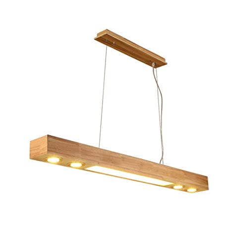 Luz colgante nórdica de comedor de madera maciza Sala de ...