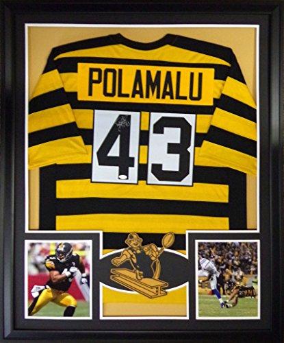 Jersey Signed Polamalu Troy (Troy Polamalu Framed Jersey Signed JSA COA Autographed Pittsburgh Steelers Throwback)