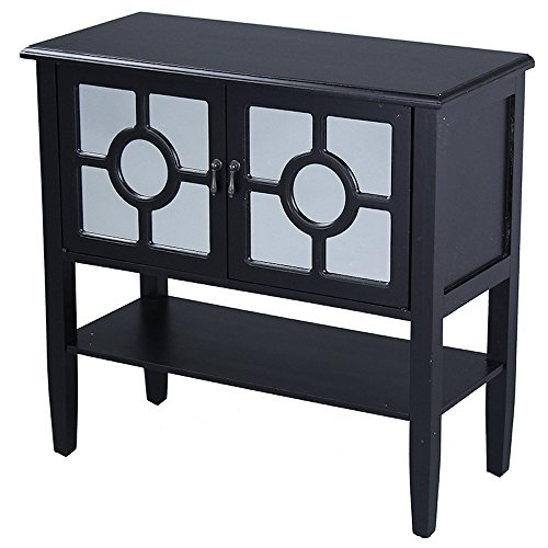 Heather Ann Creations 2-Door Console Cabinet with 4-Pane Circle Mirror Insert, Black