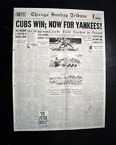 Best CHICAGO CUBS Wins National League Baseball MLB Pennant Flag 1938 Newspaper CHICAGO SUNDAY TRIBUNE, October 2, 1938