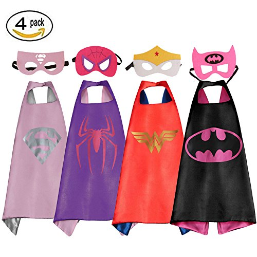 Girl Capes (RioRand Comics Cartoon Dress Up Costumes Satin Capes with Felt Masks for girls (Set of 4))