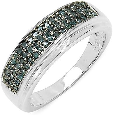 Silvancé - Anillo de mujer - plata esterlina 925 bañada en rodio - auténtico piedras preciosas: Blue Diamond ca. 0.29ct. - R4876BLD