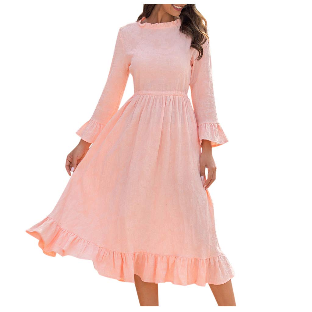 Buy callm Dress for Women Fashion Long Sleeve O Neck Cotton Mid Calf Length Dress Party Dress at Amazon.in