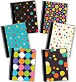 New Generation - Polka DOTY - Composition Notebook 6 Pack, 80 Sheets / 160 Pages, 7.5 x 9.75 Inches, UV Glossy Laminated Hard, Back to School/Campus (6 Pack Composition Notebook College Ruled)