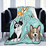 "Delerain Dog Corgi Pug Border Collie Flannel Fleece Throw Blanket 50""x60"" Living Room/Bedroom/Sofa Couch Warm Soft Bed Blanket for Kids Adults All Season 6"