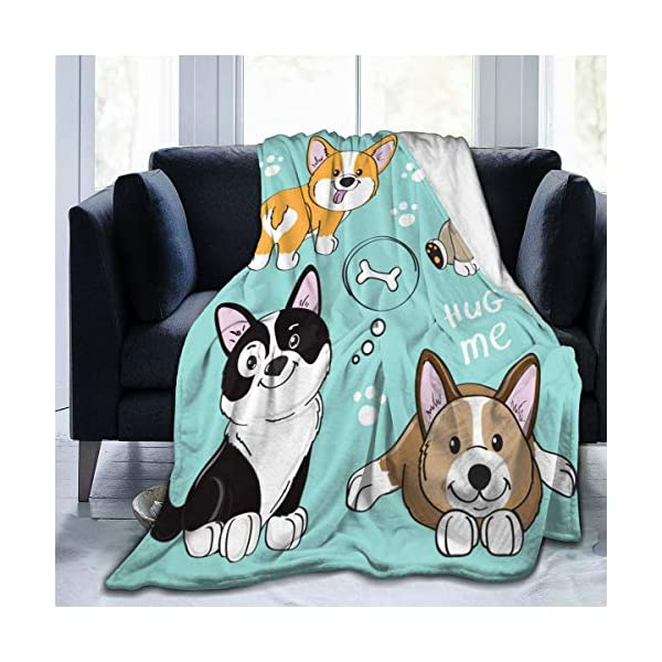 "Delerain Dog Corgi Pug Border Collie Flannel Fleece Throw Blanket 50""x60"" Living Room/Bedroom/Sofa Couch Warm Soft Bed Blanket for Kids Adults All Season 1"