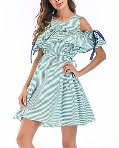 Green Stripe Ruffle Midi Allonly Off Waist Line Shoulder A Dress Tie Women's ZBxanqWP
