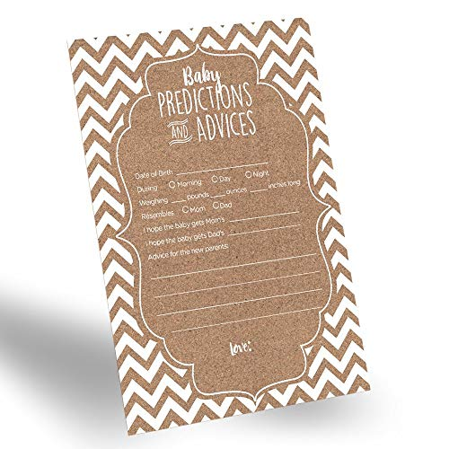 AMERICAN WIT 60-Pack Gender Neutral Baby Prediction Cards for Gender Reveal Party, Rustic Baby Prediction and Advice Card for New Parents, Fun Gender-Neutral Prediction Cards for Baby Shower
