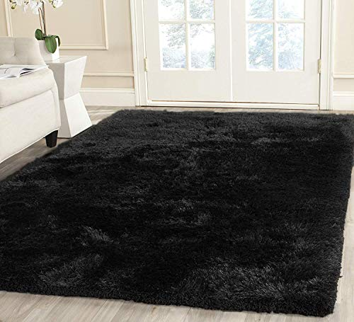 Big Feizy 8x10 Large Shag Shaggy Modern Contemporary Fluffy Fuzzy Furry Black Charcoal Area Rug Carpet Thick Long Hair High Pile Plush Room Size Polyester Scatter Inexpensive Super Soft Accent