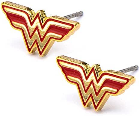 DC Comics Womens Wonder Woman Stud Earrings (Red & Gold Tone)