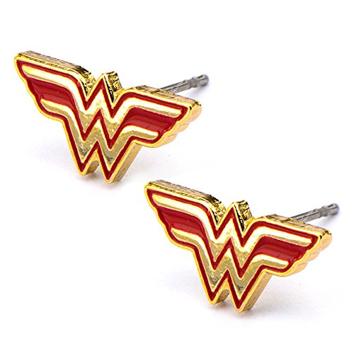 Official Stainless Steel Gold Tone Wonder Woman Logo Stud - Earrings Woman Wonder