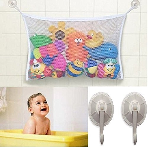 Baby/Toddler Bath Tub Toys Organizer - New Design 4 Suction Cups + 2 Extra Strong Suction Cups! Large Storage/Bag for Toys Even as a Shower Caddy! Mold Free Playtime for... (BLACK)