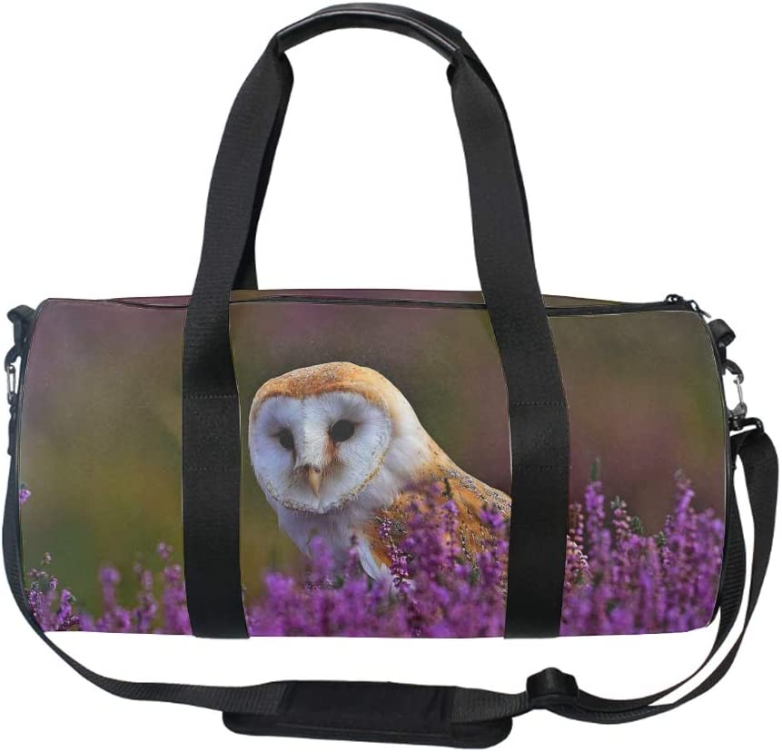 Cute Owl Duffel Style Carry On Sports Travel Bag with Shoulder Strap Zippered Compartments