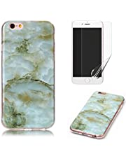for iPhone 4/iPhone 4S Marble Case with Screen Protector,OYIME Creative Glossy Green Marble Pattern Design Protective Bumper Soft Silicone Slim Thin Rubber Luxury Shockproof Cover