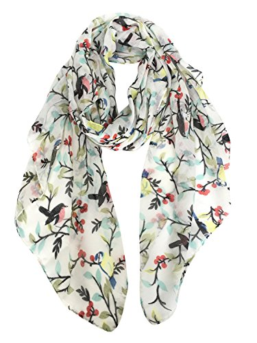 GERINLY - Lightweight Floral Birds Print Shawl Scarf For Holiday Season (Ivory White)