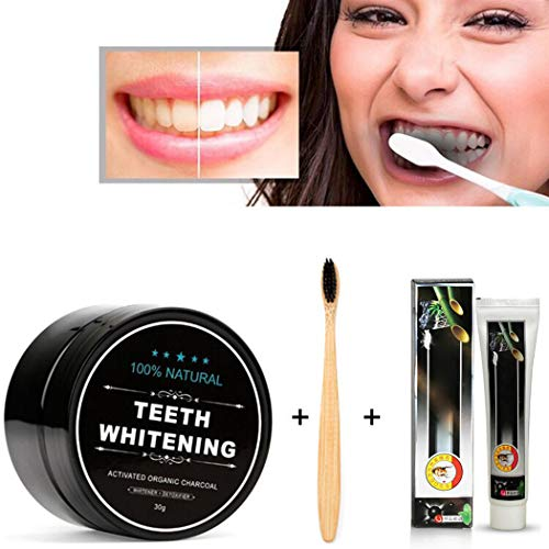 Activated Charcoal Powder Dirty Mouth Black All Natural Charcoal Toothpaste With Toothbrush- Gently Polishes, Whitening, ReMineralize and Strengthens, (Black)