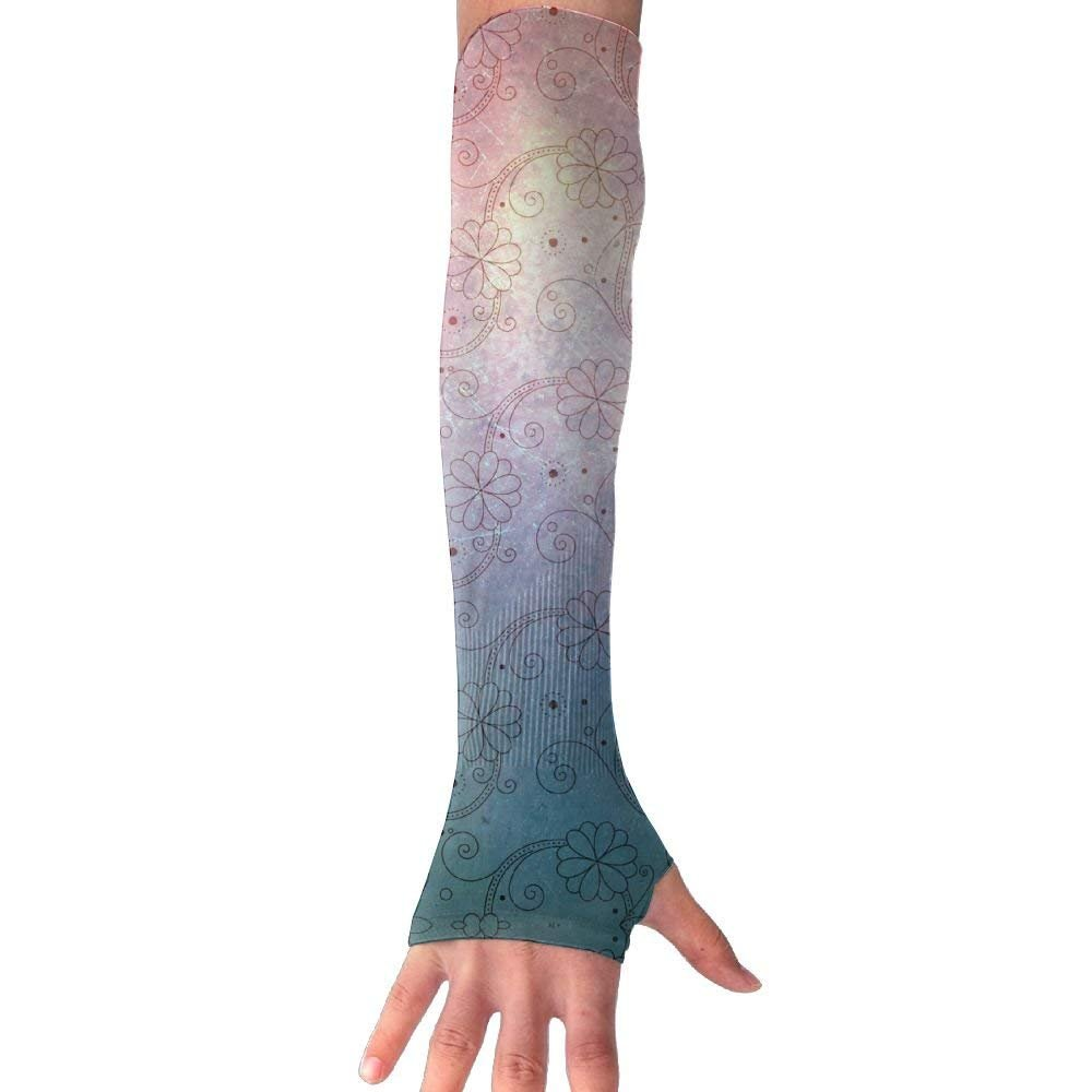 Unisex Floral Pattern Sense Ice Outdoor Travel Arm Warmer Long Sleeves Glove