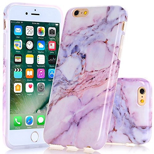 iPhone SE Case, iPhone 5 5S SE Purple Pink Marble Design, BAISRKE Slim Flexible Soft Silicone Bumper Shockproof Gel TPU Rubber Glossy Skin Cover Case for Apple iPhone 5 5S SE