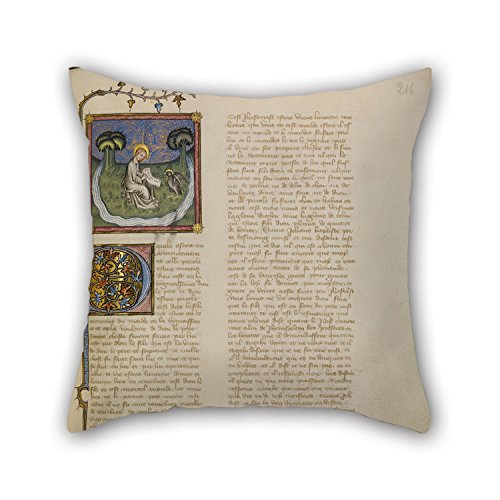 By 45 Cm Oil Painting Master Of Jean De Mandeville (French, Active 1350 - 1370) - Saint John On Patmos Pillow Cases Both Sides Ornament And Gift To Teens Girls Teens Bedding Hi ()