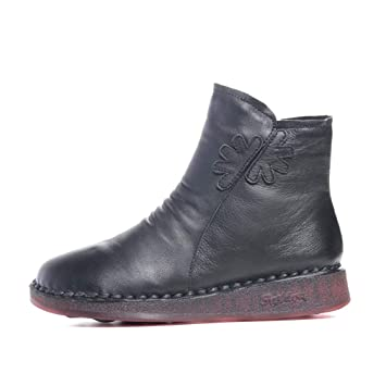 YAN Botines para Mujer, Zapatos para Caminar al Aire Libre Botines de Cuero y Botas de Terciopelo Acolchadas Botas Planas de Invierno Negro: Amazon.es: ...