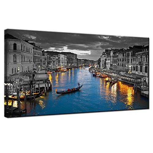 (LevvArts - Venice Italy Canvas Wall Art Beautiful Grand Canal Landscape Photograph Night City Skyline Canvas Print Poster for Home Bedroom Living Room Wall Decor Framed and Easy Hanging)
