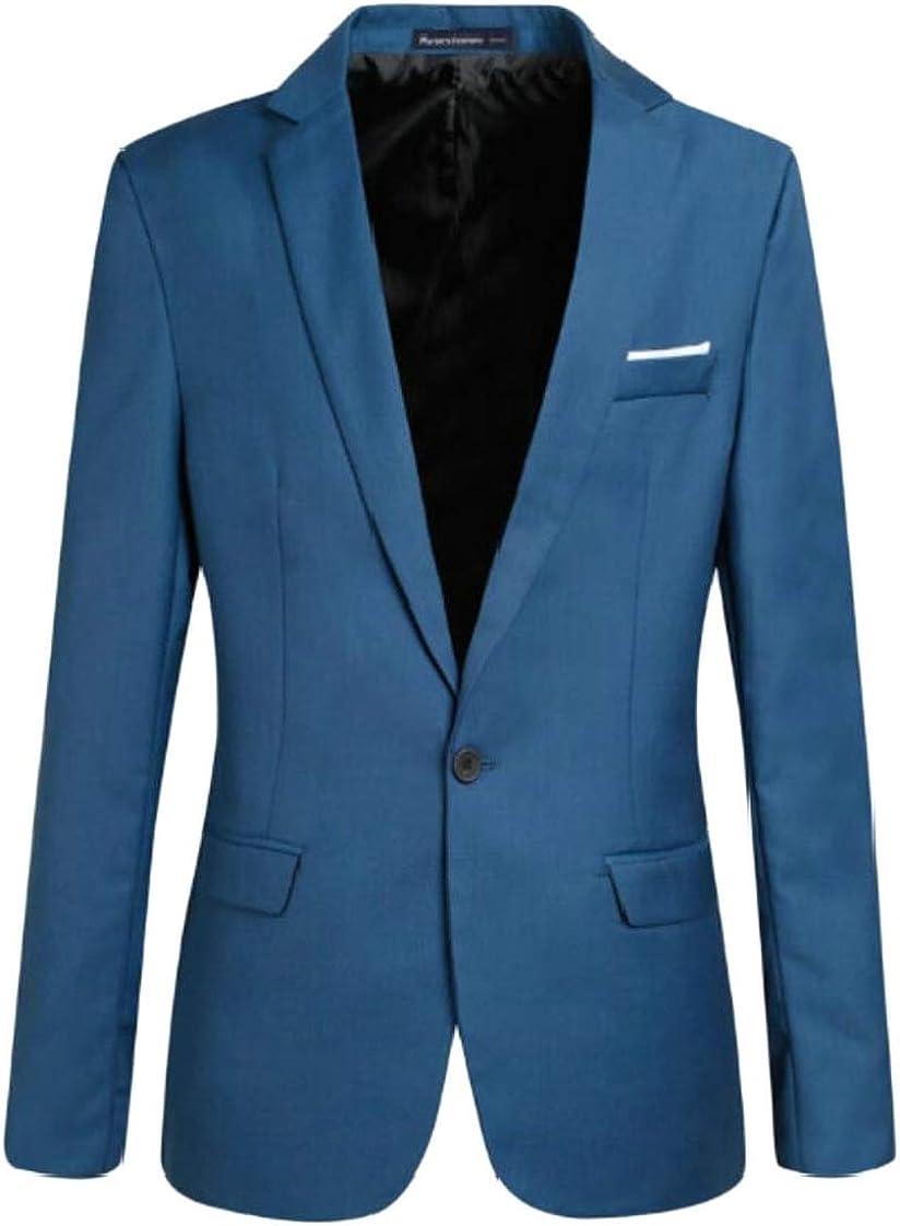 ainr Mens Blazer Jacket Lapel One Button Bussiness Slim Fit Coat