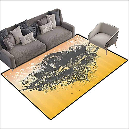 Non Slip Door Mat for Front Door Black Decor,Halloween Theme Vector Illustration of a Wicked Crow and Flowers Print,Black and Mustard 80