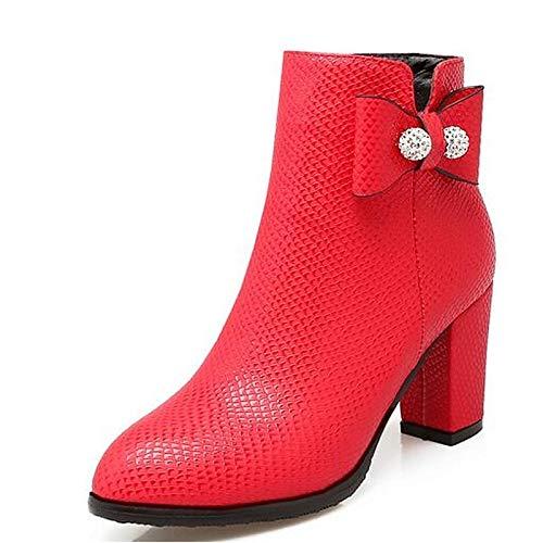 IWxez IWxez IWxez Damenmode Stiefel PU (Polyurethan) Winterstiefel Chunky Heel Closed Toe Stiefelies Stiefeletten Weiß Schwarz   Rot 08e4fe