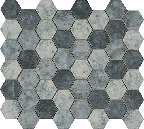 Tray Tile Kit (M S International Urban Tapestry Hexagon 11.02 In. X 12.76 In. X 6 mm Glass Mesh-Mounted Mosaic Tile, (14.7 sq. ft., 15 pieces per case))