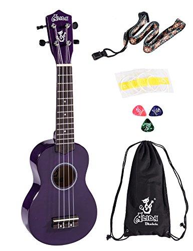 Alida Basswood Soprano Ukulele Purple Color Kid Guitar included Bag, Strap, Spare Strings and Picks