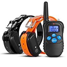 Hualite No Bark Collar, Waterproof Rechargeable LCD Remote Stop Barking Training Collar with Leather Belt and Led Light, No harm 100 levels of Shock and Sound Vibration Anti Bark Control Collar for 15-120 lbs Medium and Large Dog(for 2 Dogs)