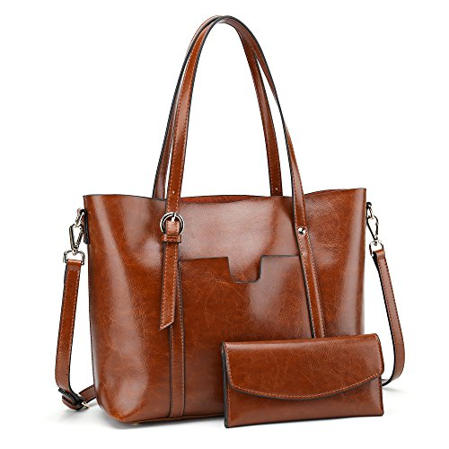 obarter Women's Handbag Genuine Leather Tote Shoulder Bags Wallet and Handbag 2 Piece Set Genuine Bag (Light Brown) by obarter