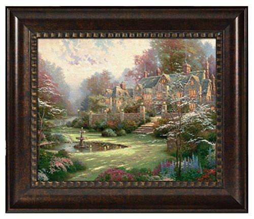 Thomas Kinkade Gardens Beyond Spring Gate 16 x 20 Brushstroke Vignette (Rich Burl)