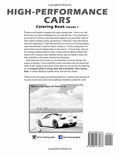 High-Performance Cars: A Coloring Book of Cars (Volume 1): ChanTim ...