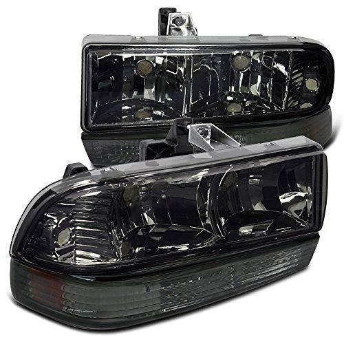 Chevy S10 Blazer Pickup Smoke Headlights+Bumper Amber Reflector Lamps (Chevy Blazer Back Bumper compare prices)