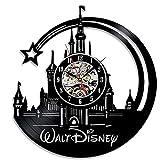 Lozse Walt Disney Castle Black Glue record wall clock vinyl hollow cartoon wall Clock Christmas kid's Gift(Size: 12 inches, Color: Black)