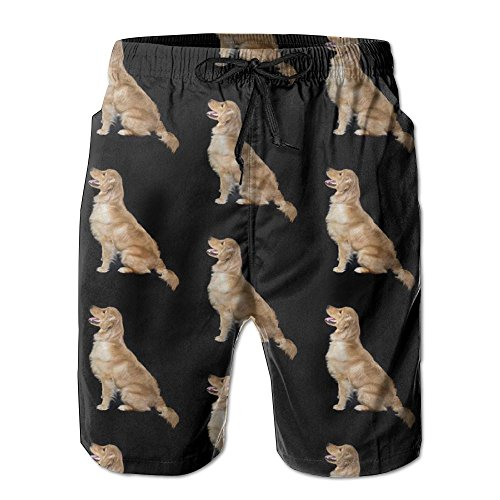 Retriever Mens Shorts - Hot Golden Retriever Dogs Summer Surf Men's Beach Swim Shorts