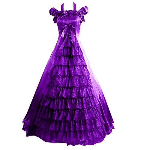 Costume Ball Gowns Cheap (Partiss Women Bowknot Floor-length Ruffles Gothic Victorian Lolita Dress, S, Purple)