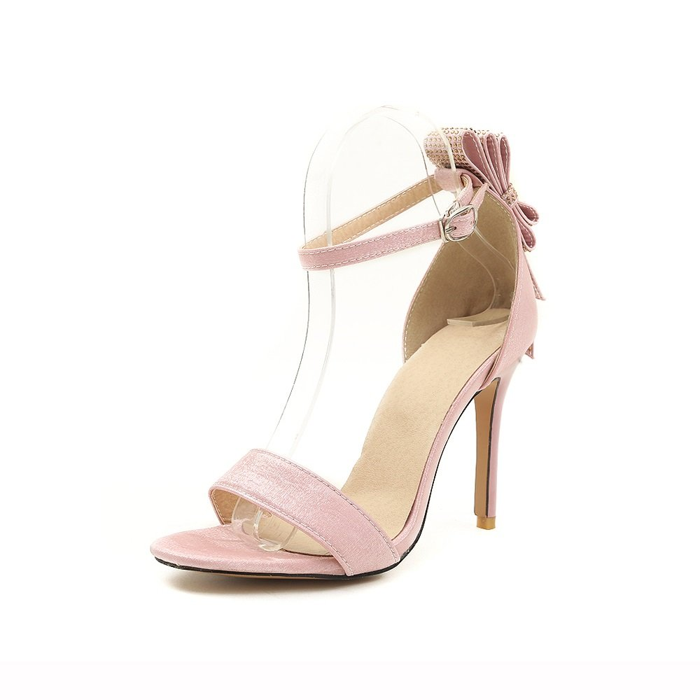 Women's Shoes Leather Spring Summer Bowknot Stiletto Bowknot Summer Rhinestone Super High Heel Sandals for Casual Dress Party & Evening B07CZF3J28 34|A 2de6e5