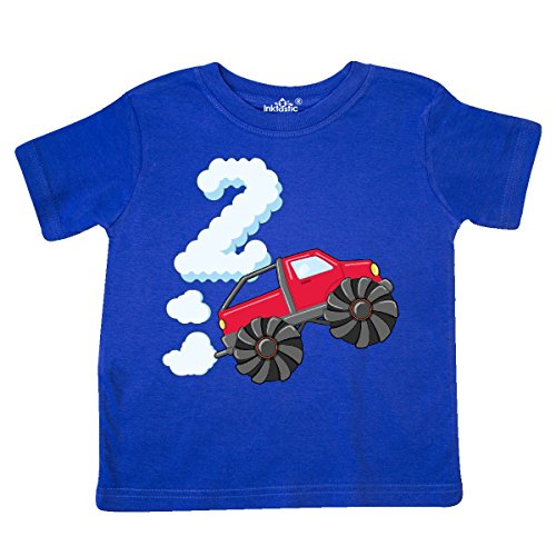 inktastic 2nd Birthday Monster Truck Fun Toddler T-Shirt 3T Royal Blue