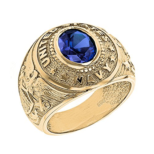 (Solid 10k Yellow Gold September CZ Birthstone US Navy Men's Ring (Size 7.5) )