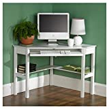 Levin Corner Computer/Writing Desk with Convenient Storage Shelf and Spacious Keyboard Tray Made w/ Manufactured Wood in Painted White Finish 30'' H x 48'' W x 32.25'' D in.
