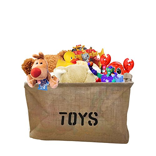 Decor Hut Toy Storage Basket 2 Pack Bin Organizer Jute Stuffed Animals Keeper Great for Dolls, Stuffed Animals, Legos and More, Easy Carry Handles