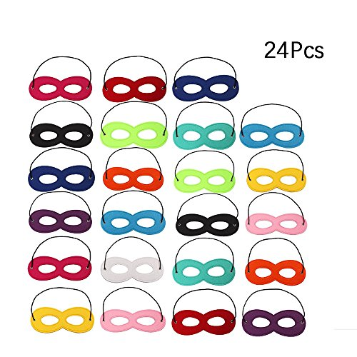 Female Action Hero Halloween Costumes (KateDy 24 Pieces Superhero Masks Eye Masks Felt Cosplay Masks Half Masks Party Masks with Elastic Rope for Party, Multicolorful Child Dress Up Kid's Superhero Felt Eye Masks with Elastic Ribbon)
