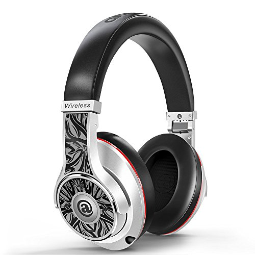 Aladdinaudio Acura Pro Passive Noise Cancelling Bluetooth Headphones with Microphone Hi-Fi Deep Bass Wireless Headphones Over Ear, Comfortable Protein Earpads, DJ Headphones for MP3 4 (Silver) by aladdinaudio