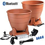 BPS520 Bluetooth Outdoor Planter Speaker Weather Resistant Built-in Water Drainage, IP67 Power Supply, Pair